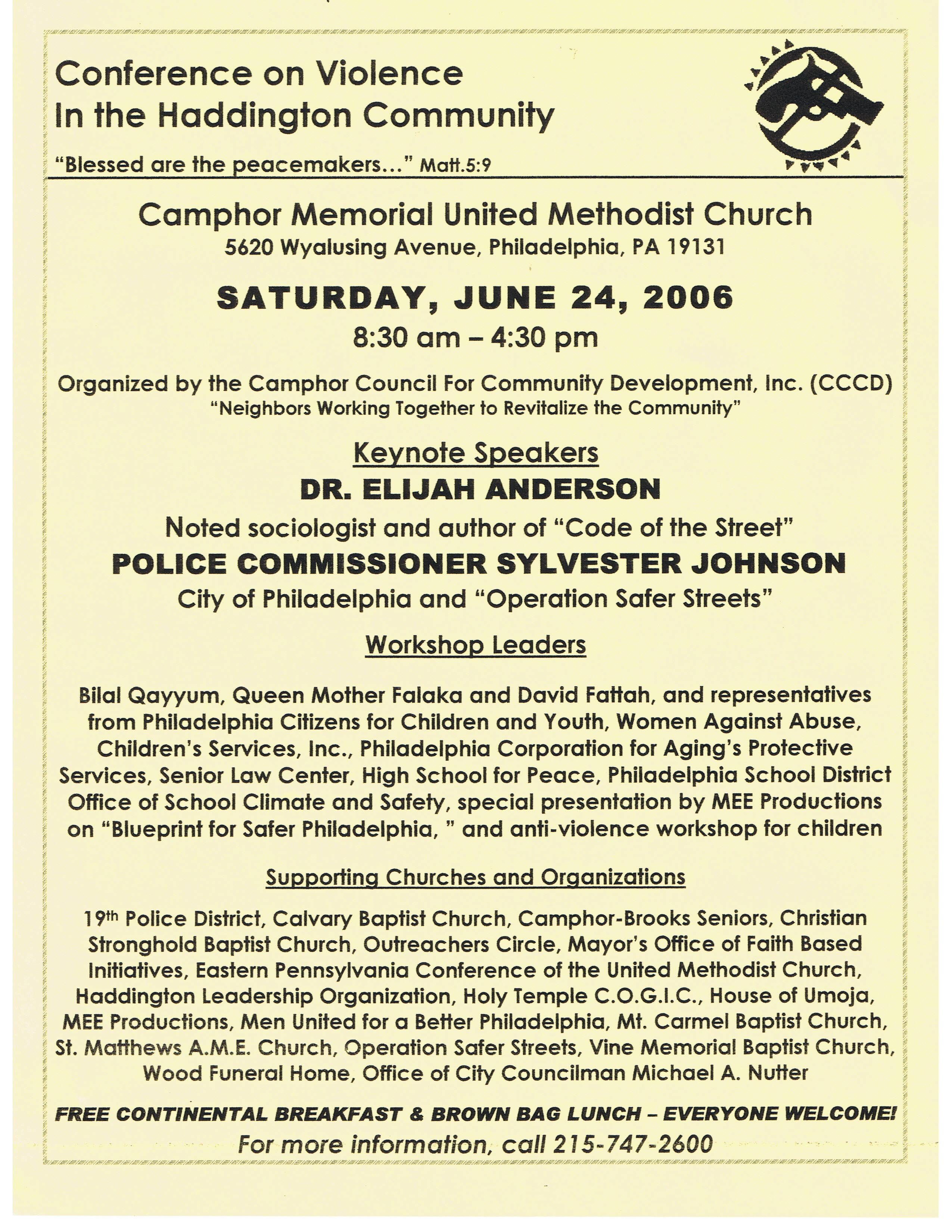 Welcome to camphor memorial united methodist church violence conference flyer malvernweather Image collections
